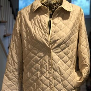 Talbots Cream Quilted Jacket Coat Womens XL